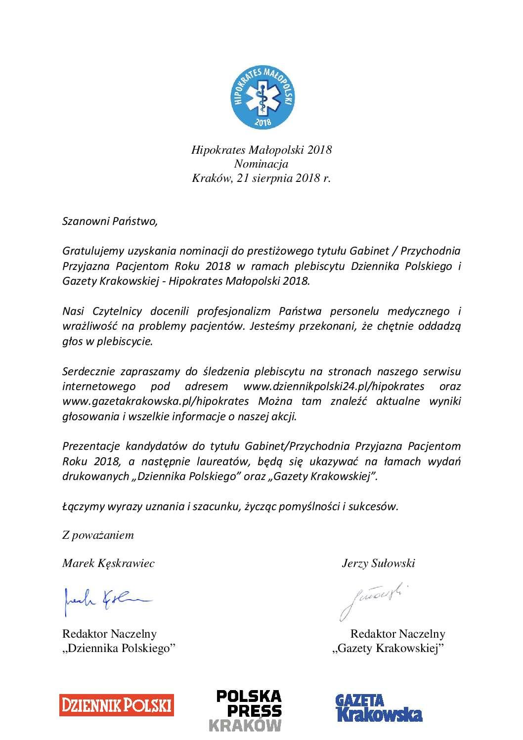 Hipokrates Małopolski 2018